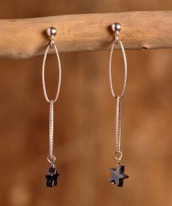 Boucles d'oreilles étoile hématite
