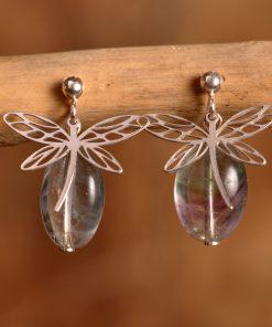 Boucles d'oreilles libellule fluorite