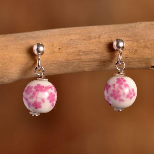 Boucles d'oreilles perles céramique