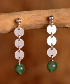 Boucles argent perle agate